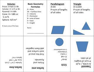 Volume: Prism: V= lwh  or  Bh Cylinder: V=  π r 2 h or  Bh Pyramid: V= ⅓ Bh Cone:  V= ⅓ Bh  or