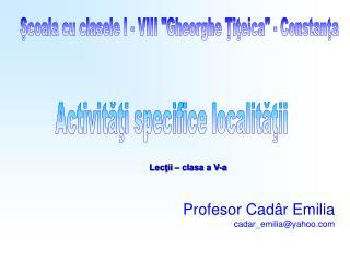 Profesor Cadâr Emilia cadar_emilia @ yahoo