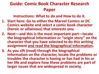 Guide: Comic Book Character Research Paper