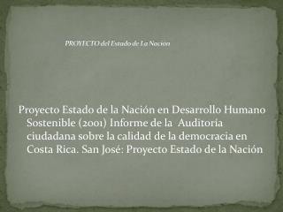 PROYECTO del Estado de La Nación