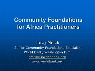 Community Foundations  for Africa Practitioners