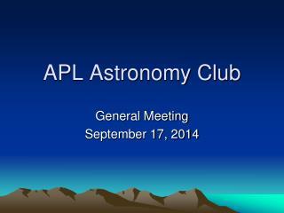 APL Astronomy Club