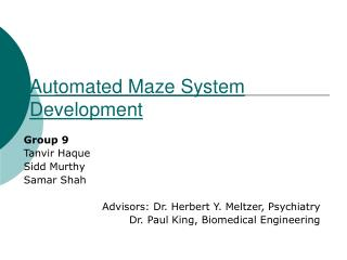 Automated Maze System Development