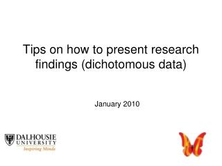 Tips on how to present research findings (dichotomous data)