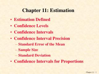 Chapter 11: Estimation