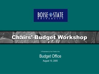 Chairs' Budget Workshop