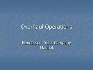 Overhaul Operations