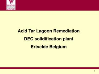 Acid Tar Lagoon Remediation DEC solidification plant Ertvelde Belgium