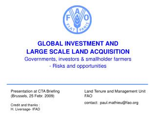 GLOBAL INVESTMENT AND  LARGE SCALE LAND ACQUISITION Governments, investors  smallholder farmers - Risks and opportunitie