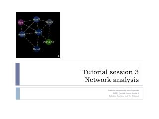 Tutorial session 3 Network analysis