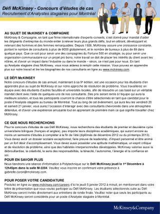 Défi McKinsey - Concours d'études de cas Recrutement d'Analystes stagiaires pour Montréal
