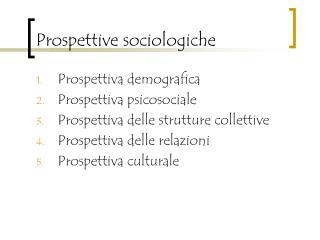 Prospettive sociologiche