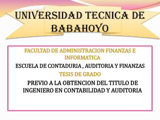 UNIVERSIDAD TECNICA DE BABAHOYO