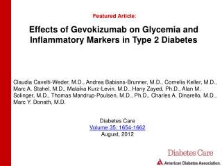 Effects of Gevokizumab on Glycemia and Inflammatory Markers in Type 2 Diabetes