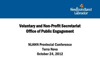 Voluntary and Non-Profit Secretariat Office of Public Engagement