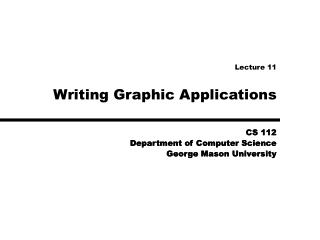 Writing Graphic Applications