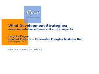 EWEC 2007 � Milan, 2007 May 9th
