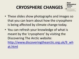 CRYOSPHERE CHANGES
