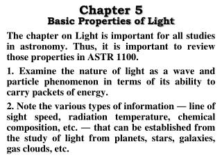 Chapter 5 Basic Properties of Light