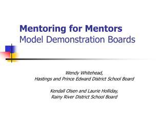 Mentoring for Mentors Model Demonstration Boards