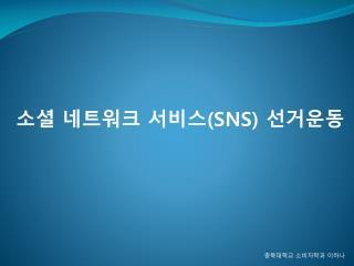 소셜  네트워크 서비스 (SNS)  선거운동