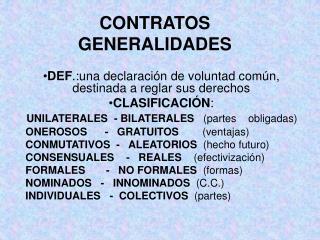 CONTRATOS GENERALIDADES