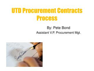 UTD Procurement Contracts Process