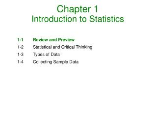 Chapter 1 Introduction to Statistics