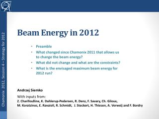 Beam Energy  in 2012