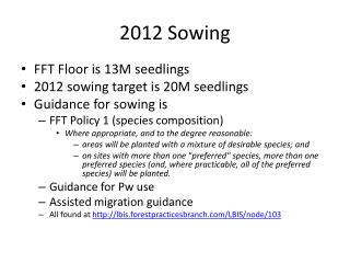 2012 Sowing
