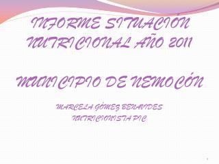 INFORME SITUACIÓN NUTRICIONAL AÑO 2011 MUNICIPIO DE NEMOCÓN