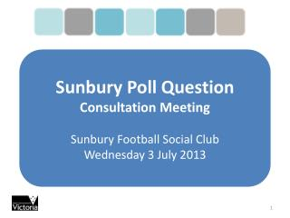 Sunbury Poll Question Consultation Meeting Sunbury Football Social Club  Wednesday 3 July 2013