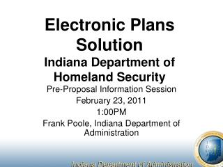 Electronic Plans Solution Indiana Department of Homeland Security