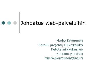 Johdatus web-palveluihin