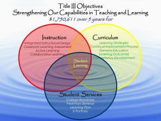 Title III Objectives Strengthening Our Capabilities in Teaching and Learning