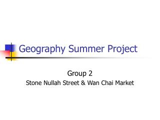 Geography Summer Project