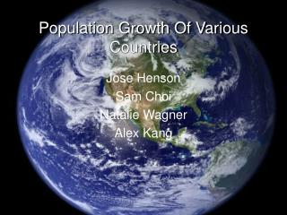 Population Growth Of Various Countries