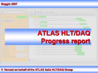 ATLAS  HLT/DAQ Progress report