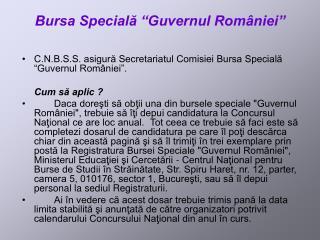 Bursa Speciala  Guvernul Rom niei