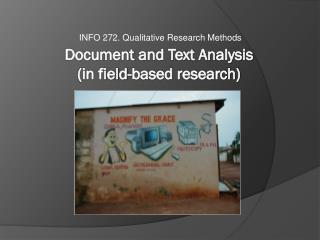 Docume nt  and Text Analysis  (in field-based research)