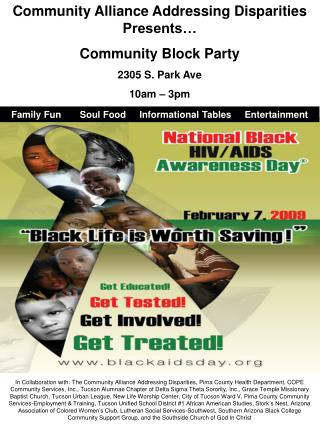 Community Alliance Addressing Disparities Presents… Community Block Party 2305 S. Park Ave