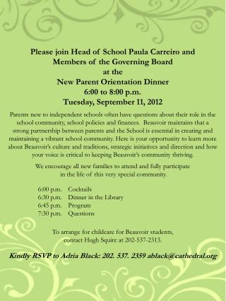 Please join Head of School Paula Carreiro and  Members of the Governing Board at the
