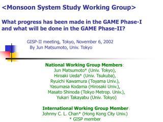 National Working Group Members :  Jun Matsumoto* (Univ. Tokyo), Hiroaki Ueda* (Univ. Tsukuba),
