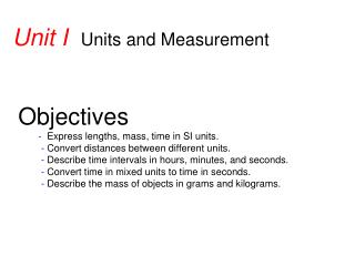 Unit I   Units and Measurement