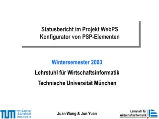 Statusbericht im Projekt WebPS Konfigurator von PSP-Elementen