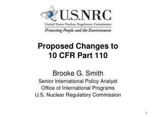 Proposed Changes to  10 CFR Part 110