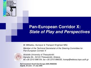 Pan-European Corridor X: State of Play and Perspectives