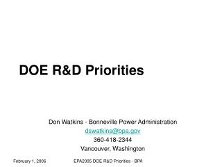 DOE R&D Priorities