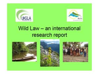 WILD LAW INTERNATIONAL RESEARCH PROJECT 2009