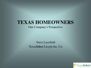 TEXAS HOMEOWNERS One Company's Perspective
